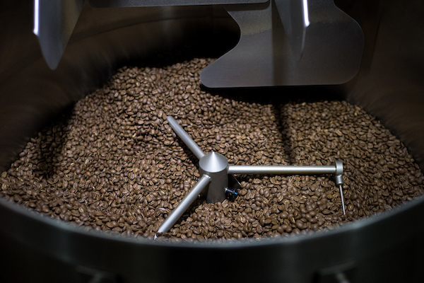 Coffee roasting at Emporio on Loring roaster