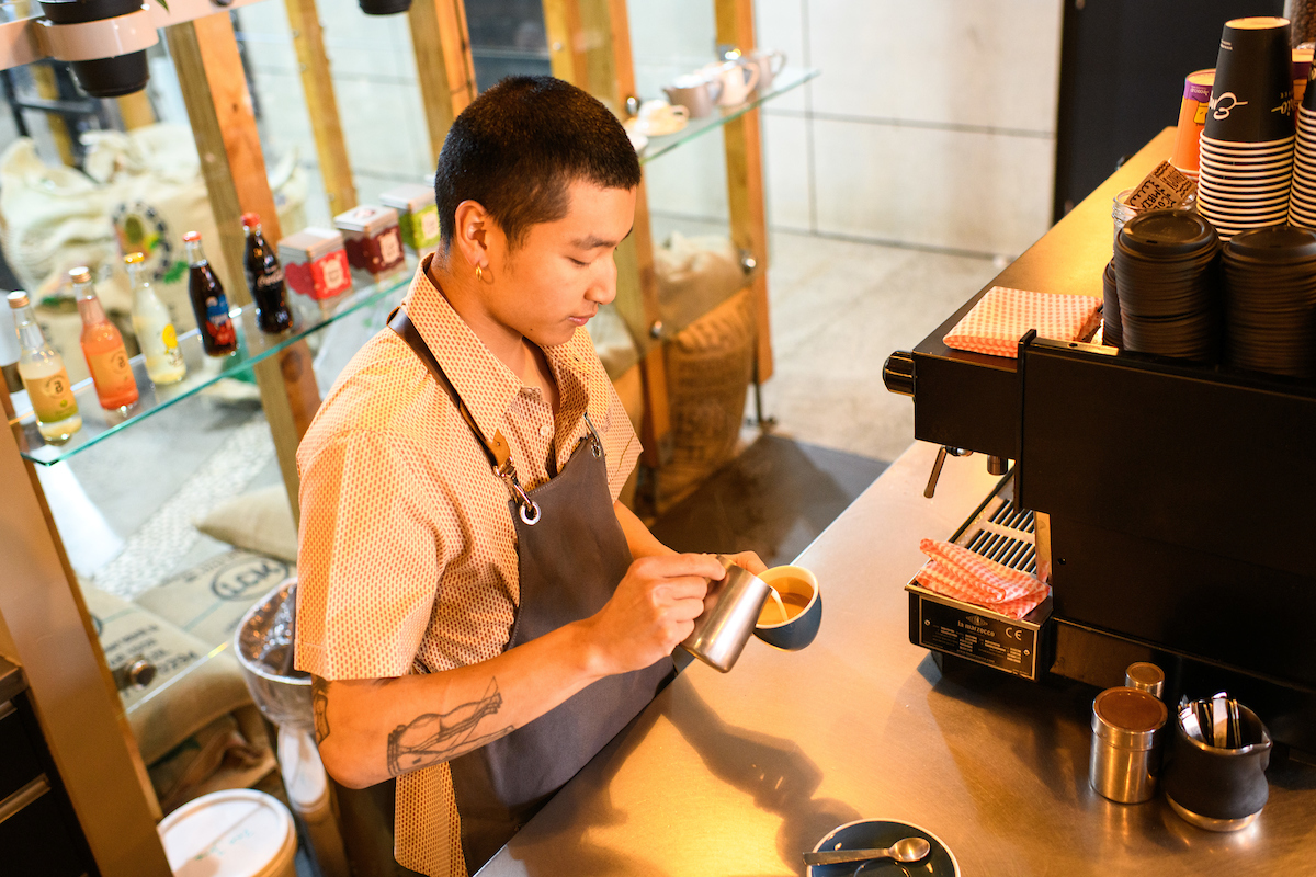 yuji making coffee