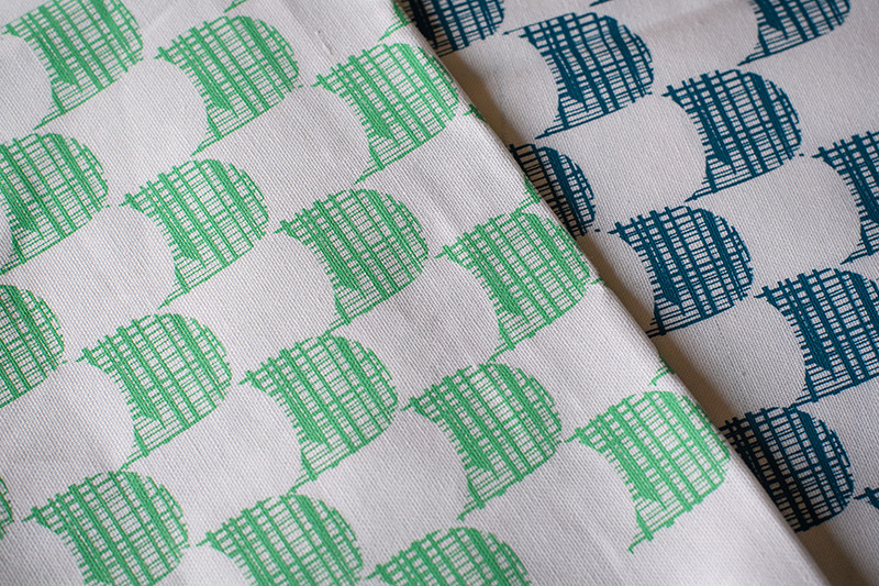 emporio tea towel green and blue