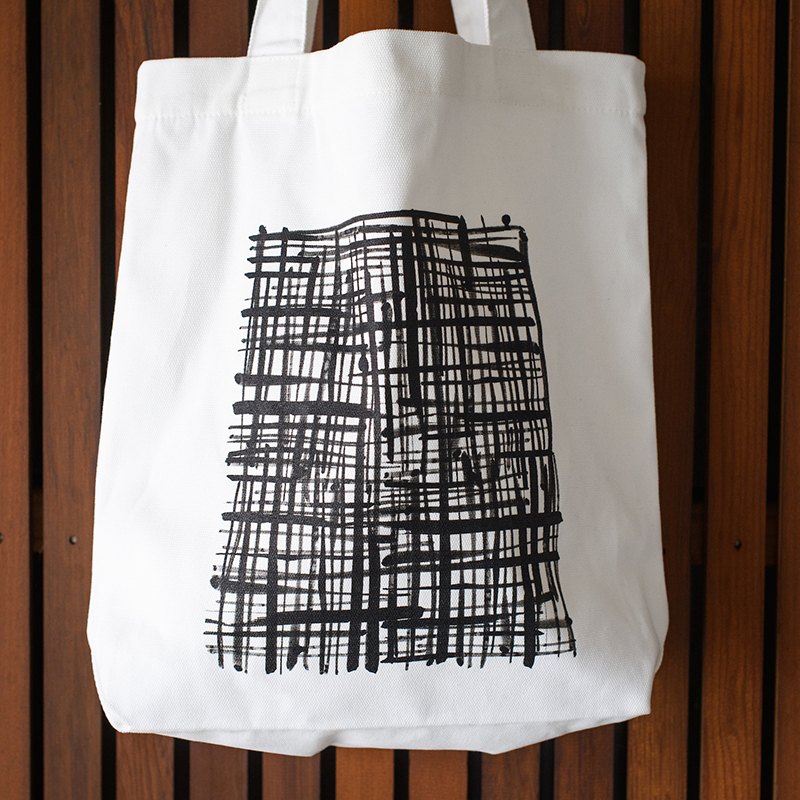 Emporio tote bag hatch pattern