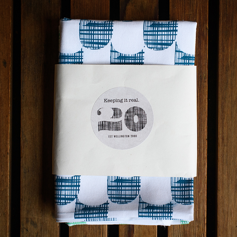 Emporio tea towels blue and green