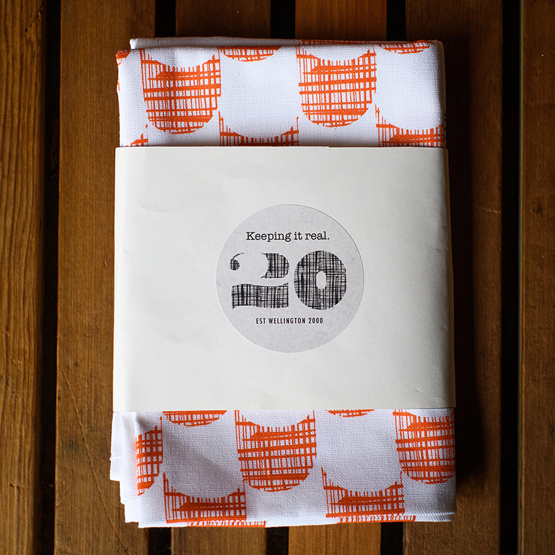 Emporio tea towels orange and blue